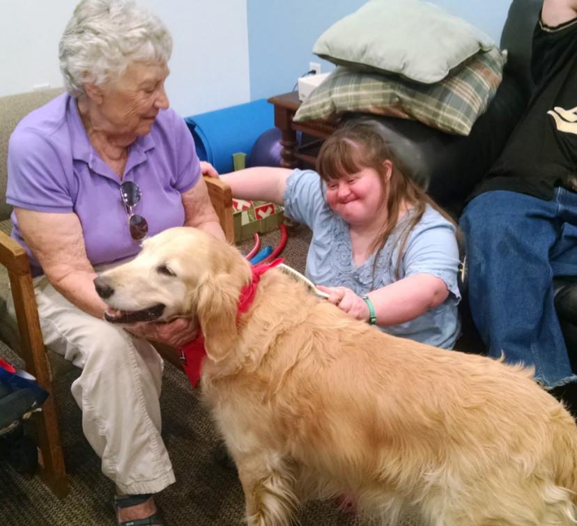 Tarese, Donna Morelli from Intermountain Therapy Dogs, and a very sweet golden named Abbie