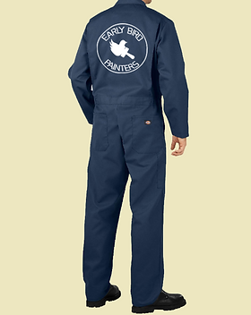 early bird painters overalls mockup