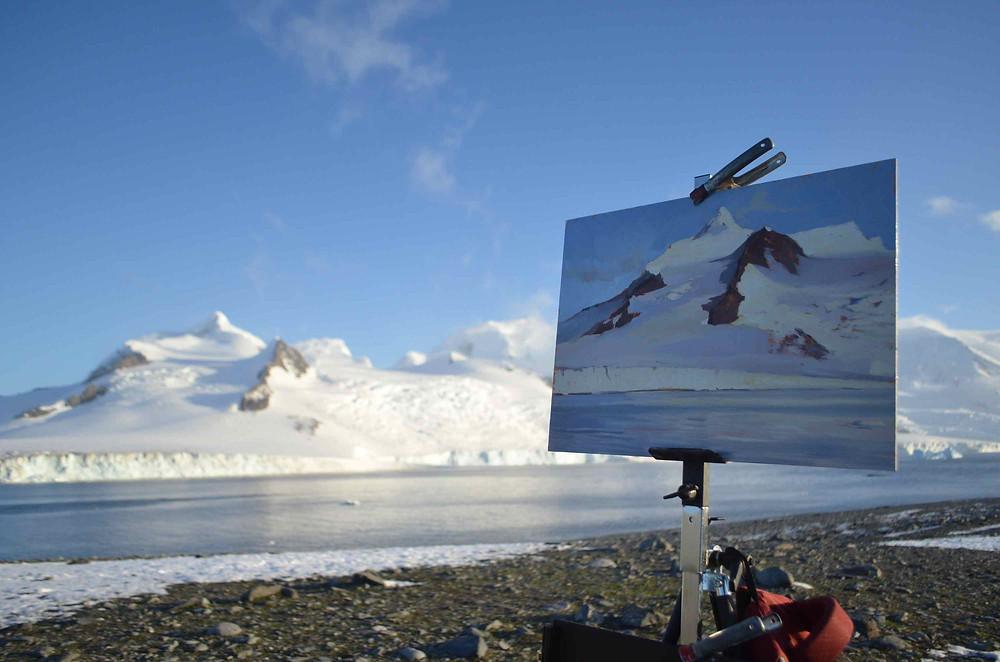 Tanvi painting in Antarctica