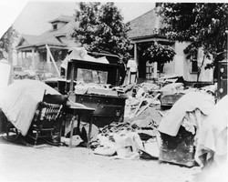 Furniture in street.