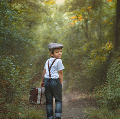 vintage boy in the forest