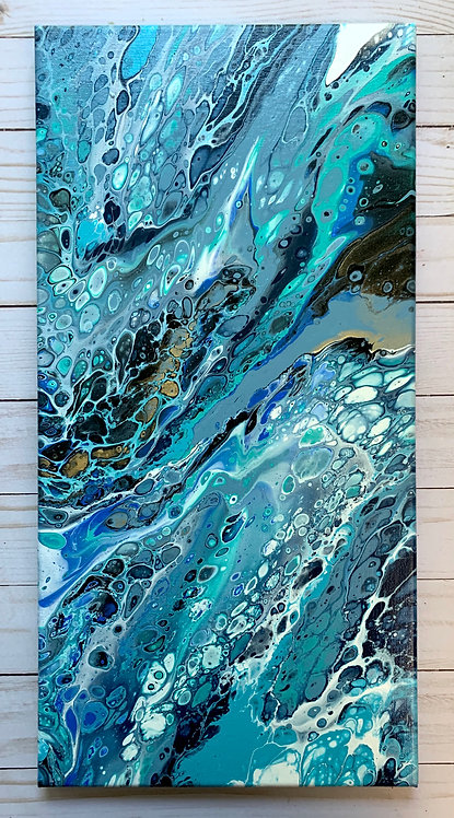 Blue Triptych - a 10x20 acrylic painting