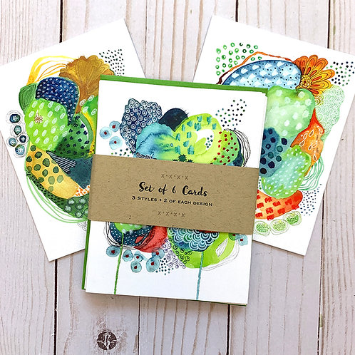 Set of 6 Note Cards-Watercolor Magic