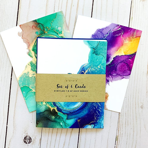 Set of 6 Note Cards-Inky Dreams