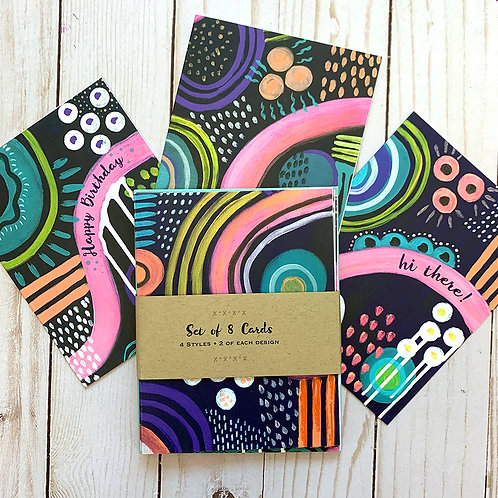 Set of 8 Note Cards-Neon Fun