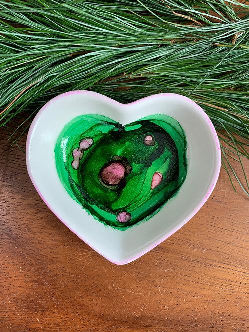 Green & Pink Heart Trinket Dish