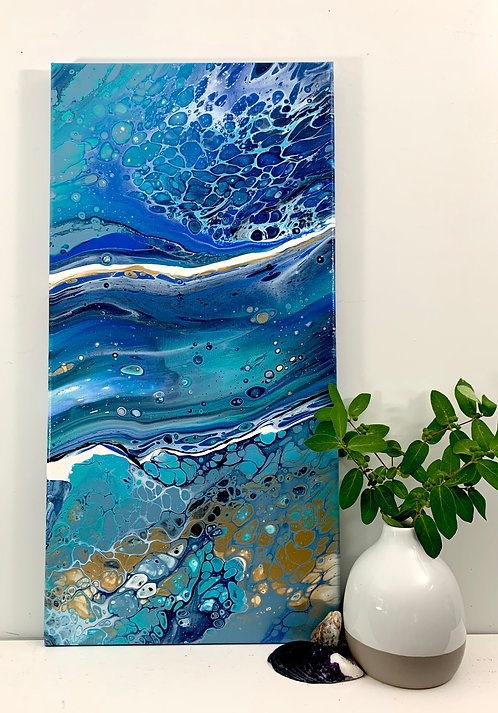 Wave Triptych - a 10x20 acrylic painting