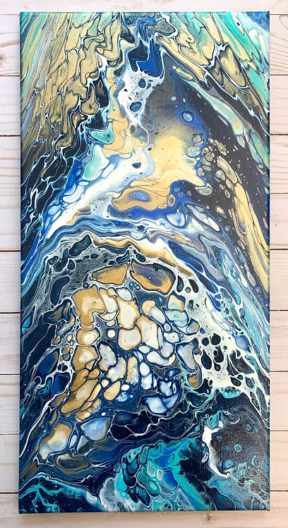 Gold Triptych - a 10x20 acrylic painting