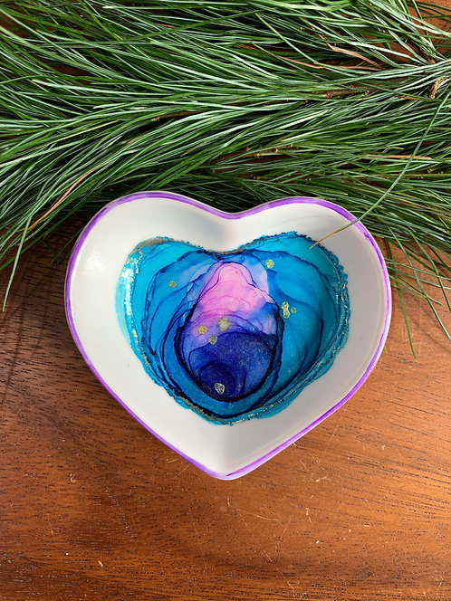 Blue & Pink Heart Trinket Dish