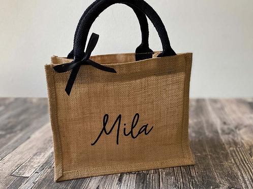 Jute-Tasche klein mit Namen, schwarz
