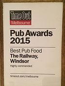awards, award winning food, casual dining, shared plates, al fresco dining, cheap, mates rates, locals night, chapel street, windsor, runner up, pub food, TimeOut, pub grub