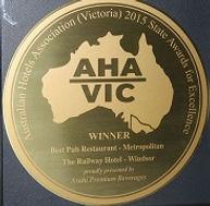 awards, award winning retaurant, fine dining, Best Pub Restaurant, AHA, Australian Hotels Association, unique, fine dining, gate to plate, chapel street, windsor, best