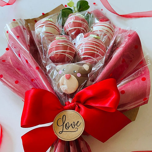 Valentine's Bear Cake Pop Bouquet