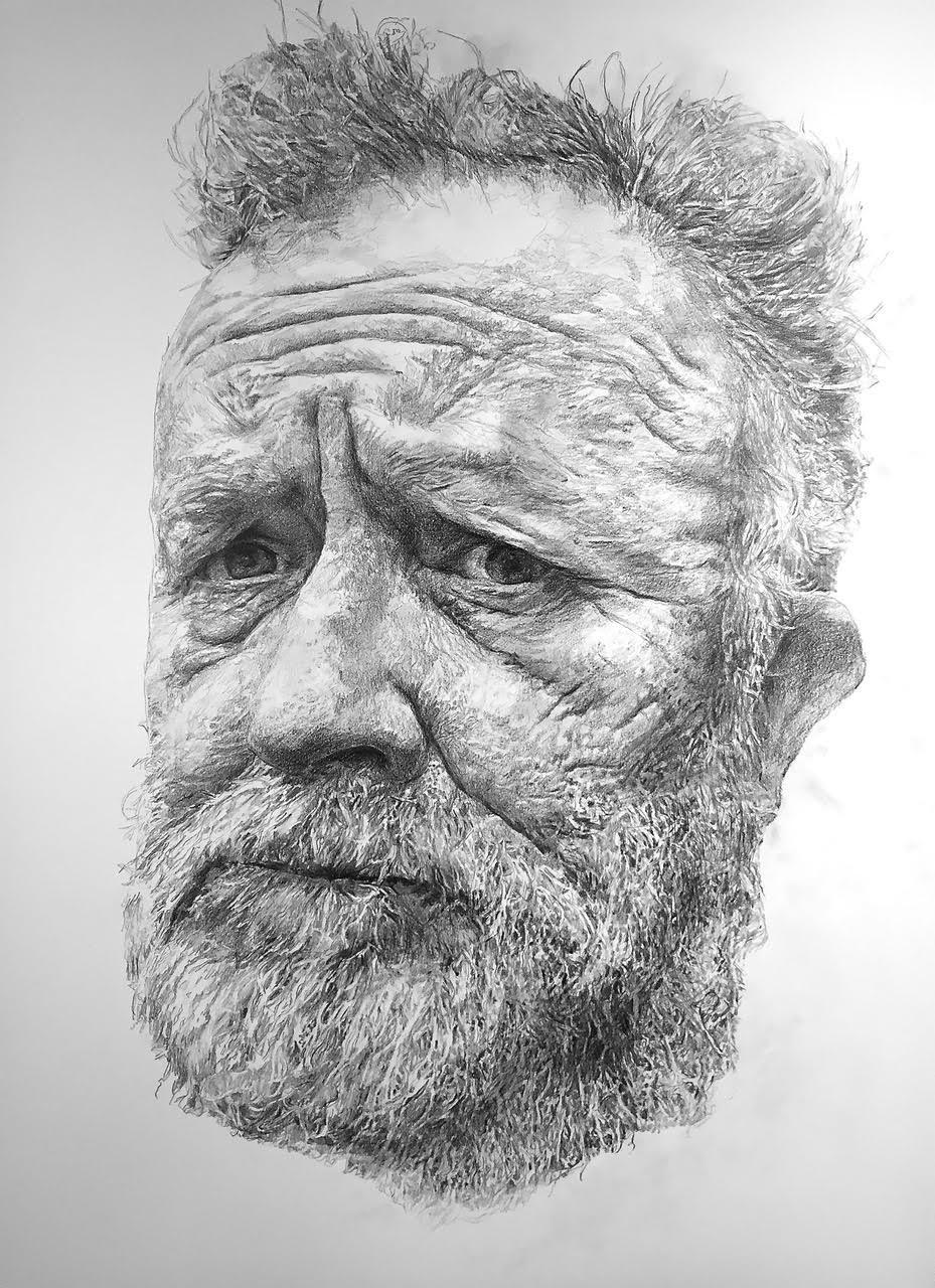Een zelfportret, potlood, 100x70cm