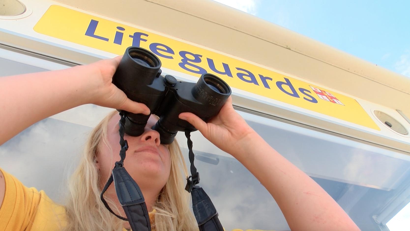 Lifeguard on duty on Weymouth beach