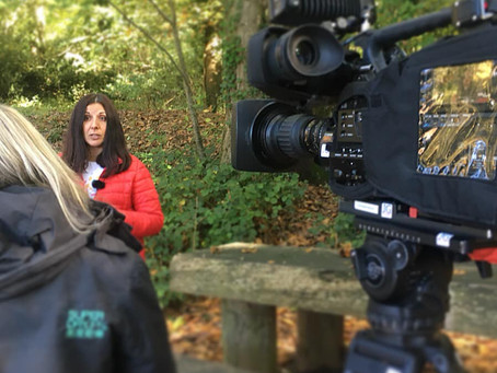 Filming in the autumn sunshine
