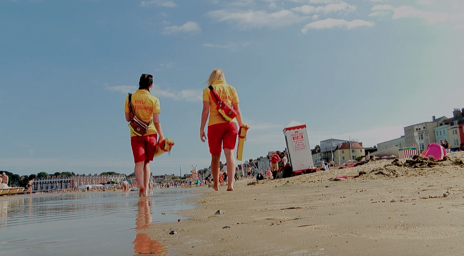 LifeguardsEmily Nineham and Olive Bown on duty in Weymouth