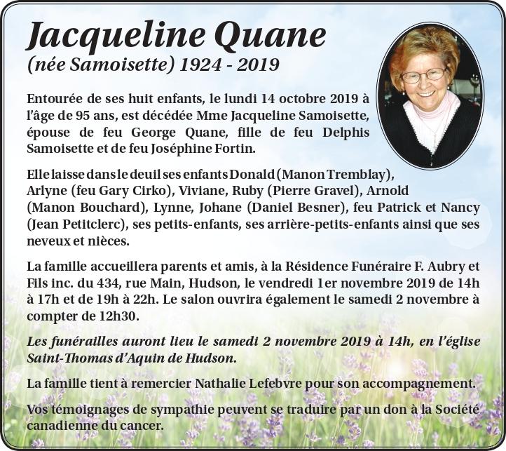 Jacqueline Quane (née Samoisette)