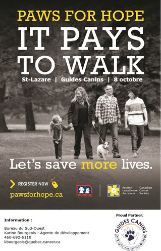 Second edition of the Canadian Cancer Society's Paws for Hope  in Saint-Lazare : a walk-a-thon in wh