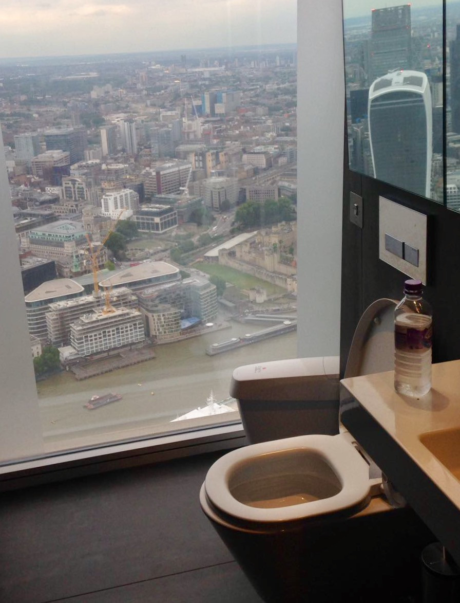 The Shard toilet with view over London