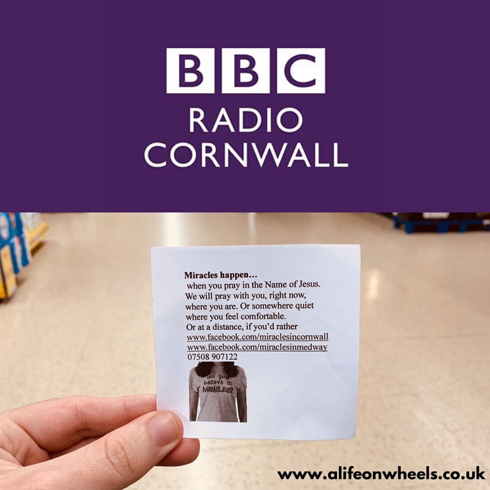 """Collage photo of the BBC Radio Cornwall logo, alongside the note handed to Ross in his previous blog """"do you believe in miracles?"""""""