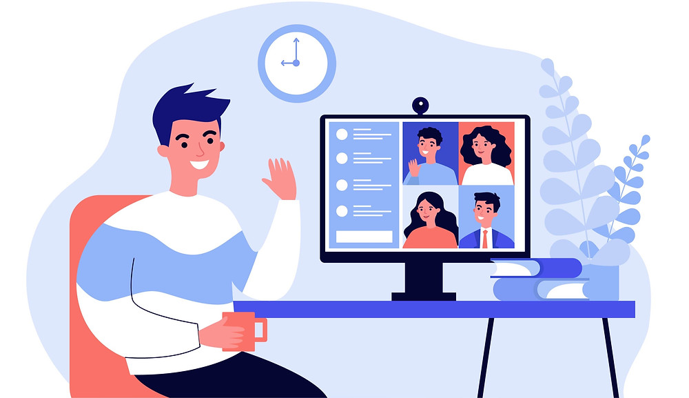 Clipart image of a man video calling with a bunch of friends on his laptop