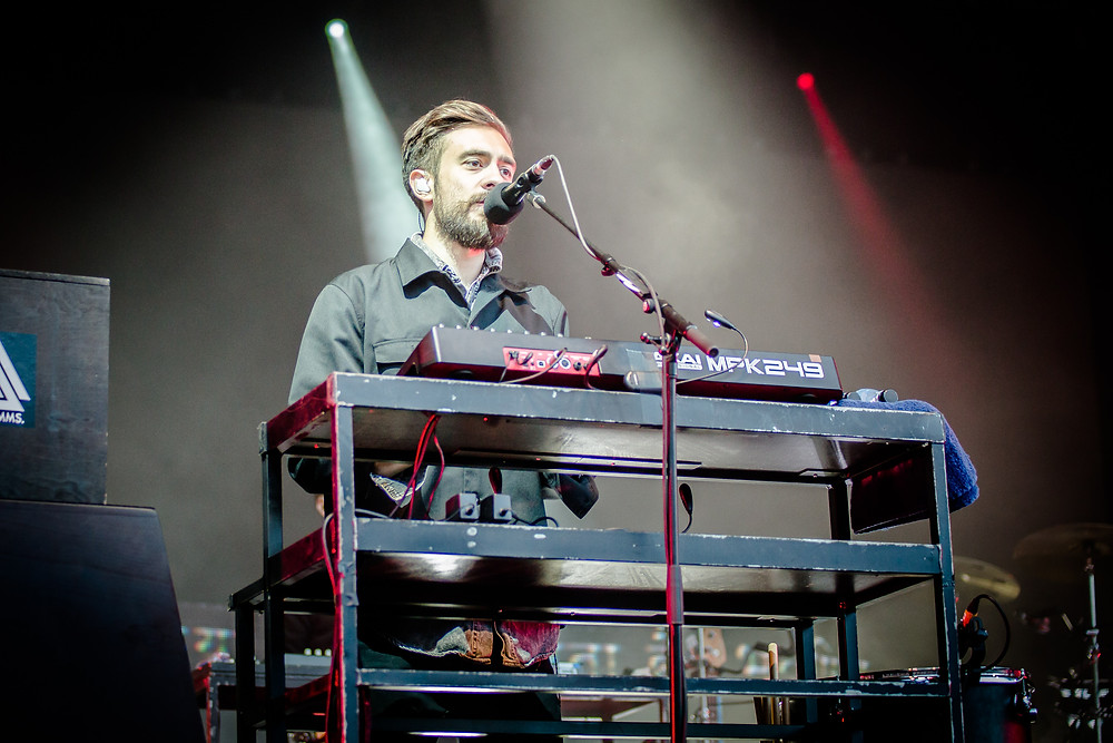 Kyle from Bastille on the keyboard, on stage at Eden