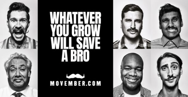 "Black & white November poster - with the text: ""whatever you grow will save a bro"""
