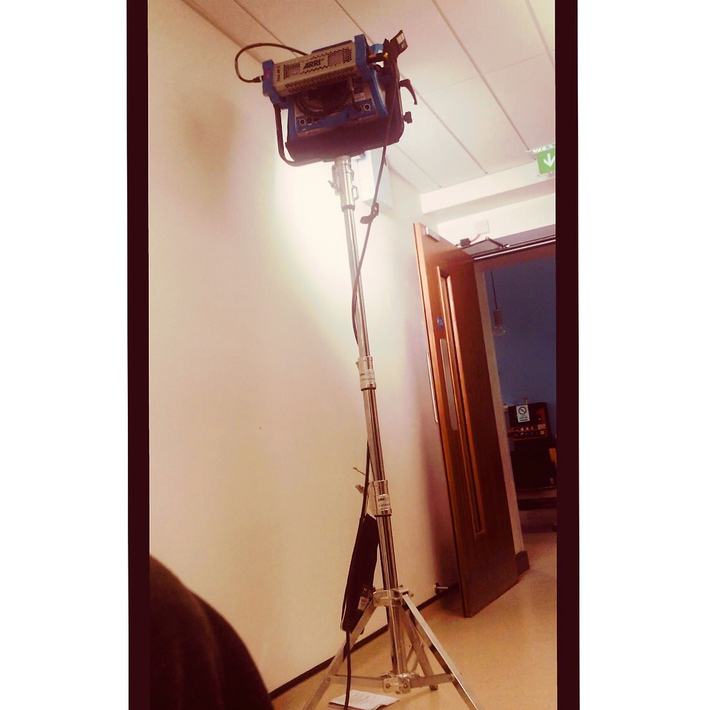 Backstage at the hospital, a large free standing studio light