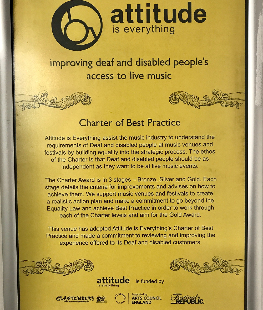 'Attitude is Everything' poster - improving deaf and disabled peoples access to live music