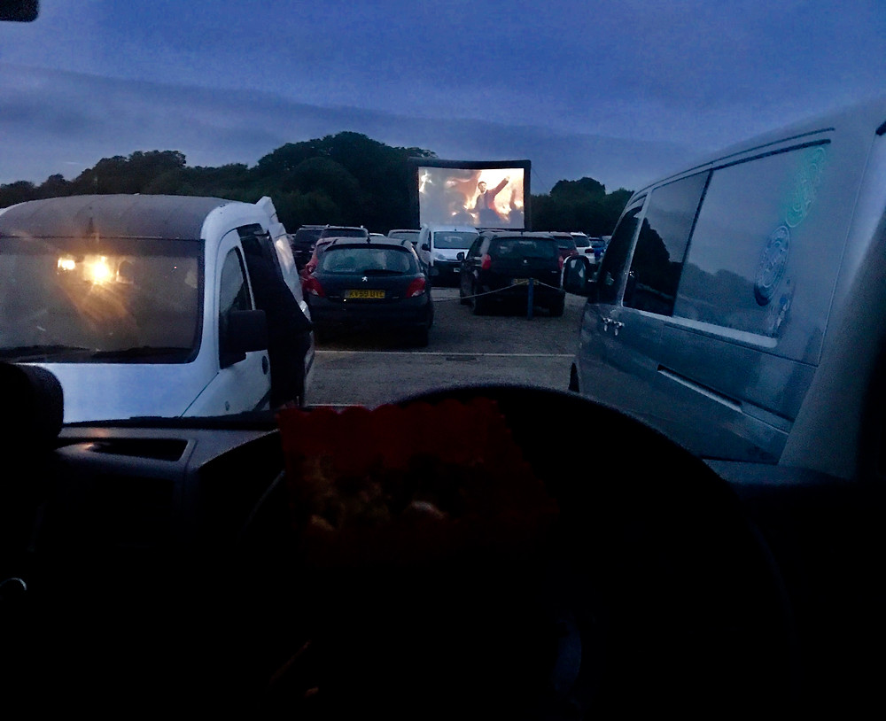 Movie drive-in view from inside the car