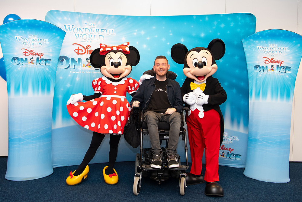 Official photo of Ross with Mickey & Minnie Mouse