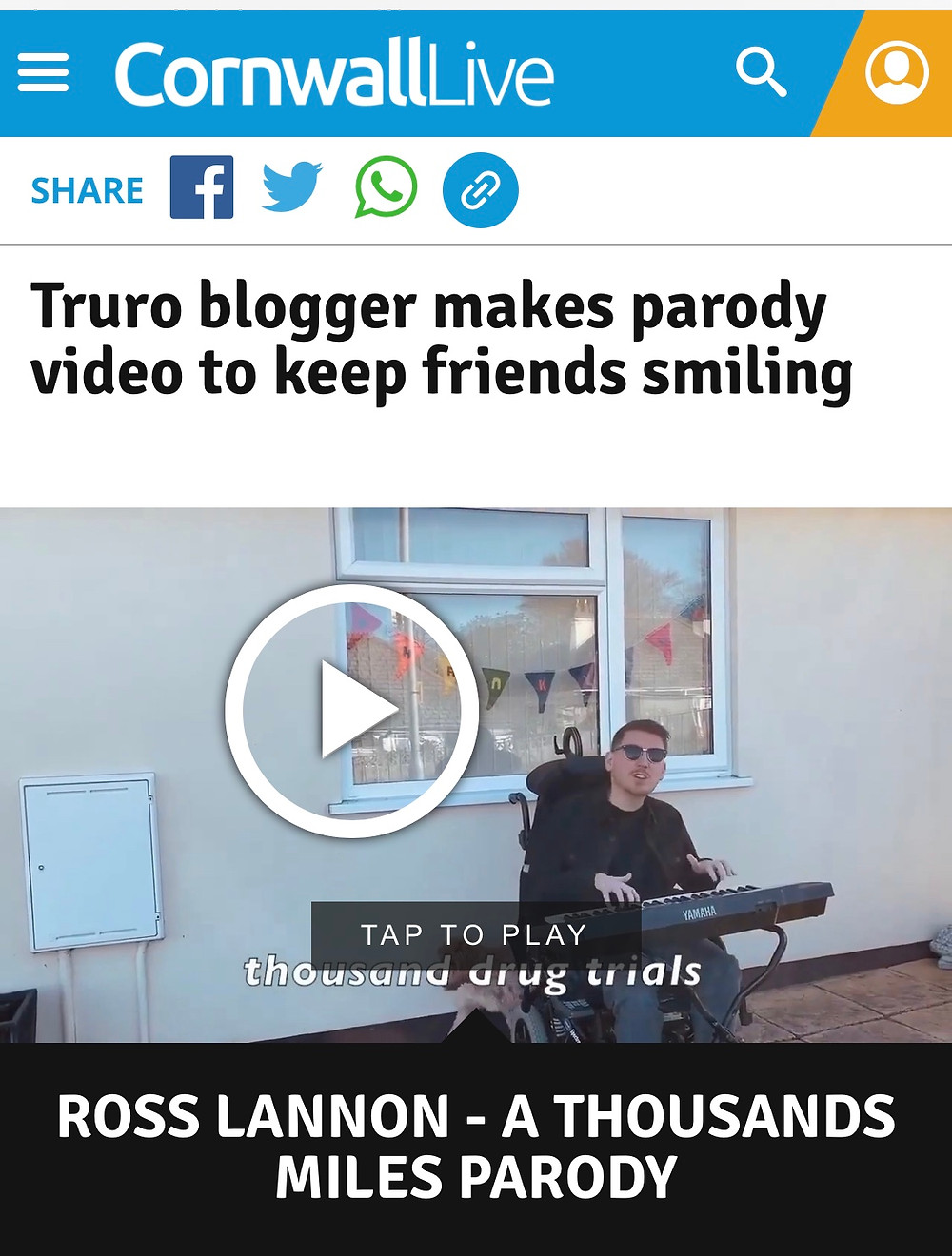 Screenshot of a CornwallLive news article titled: Truro Blogger makes parody video to keep friends smiling