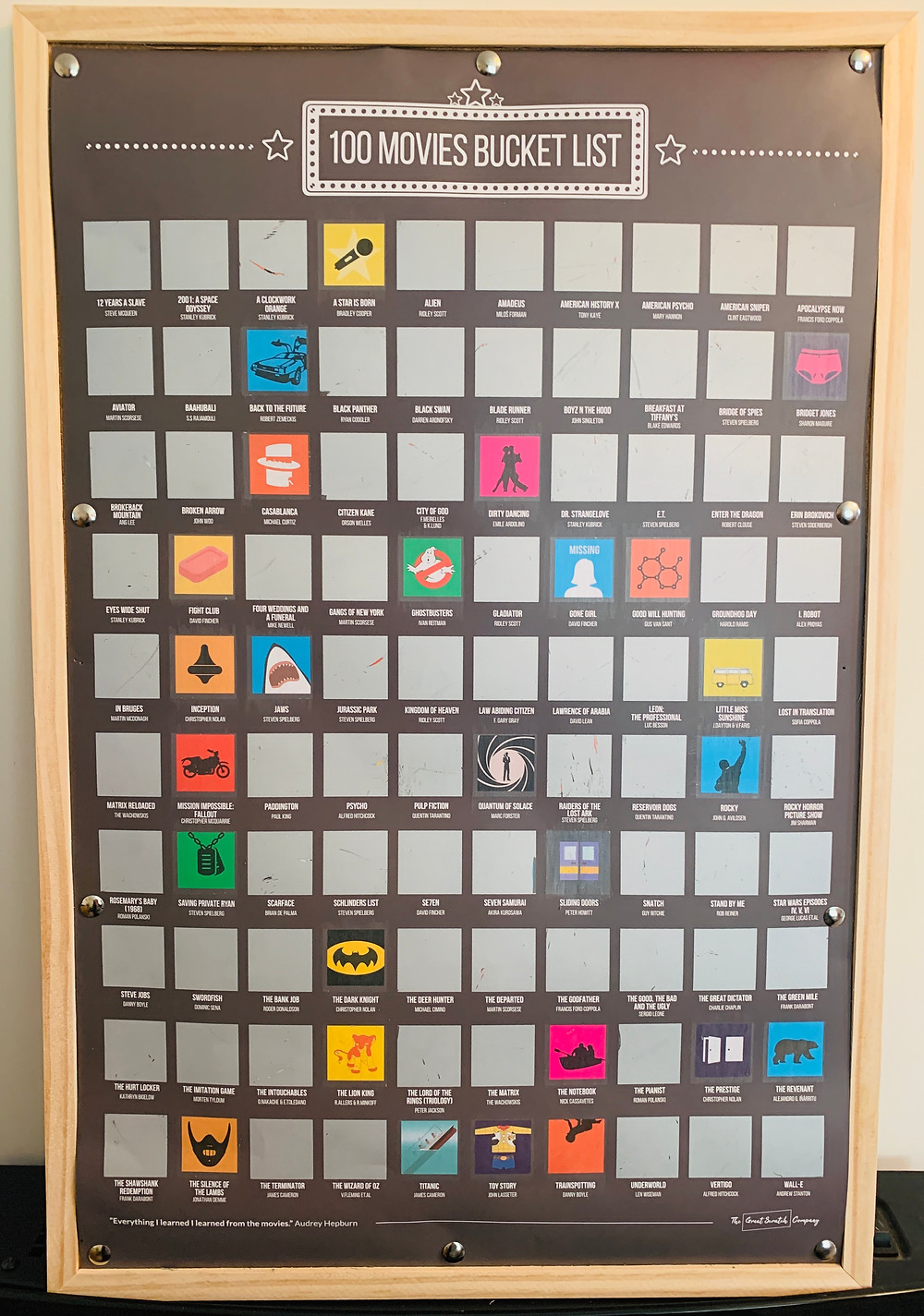 A poster listing 100 classic films, where you scratch off the box of each one you have watched