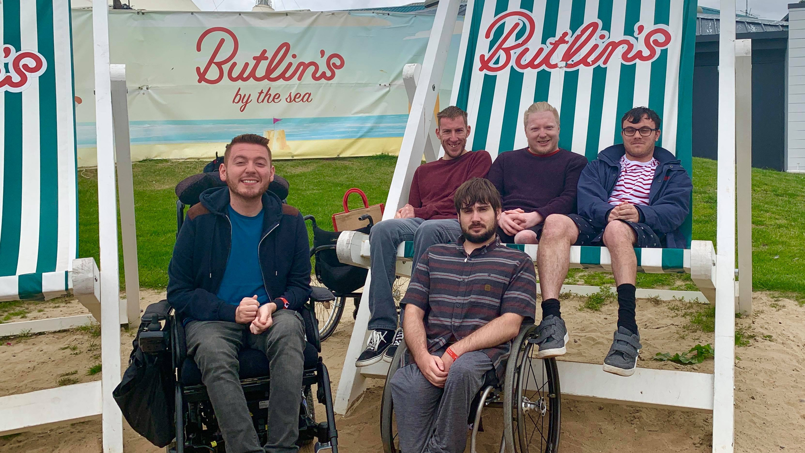 Group photo at the oversized Butlins dec