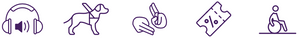 Accessibility symbols such as sign language, assistance dogs, level access, audio information