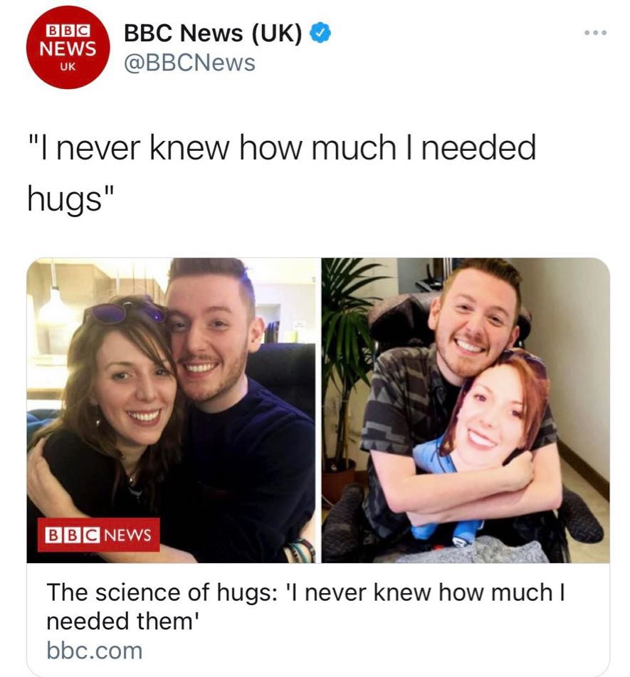 Screenshot of the BBC news article showing Ross and his sister hugging