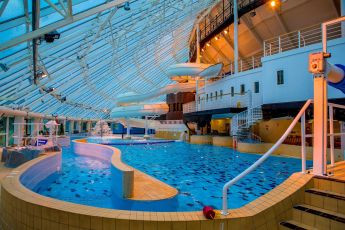 Inside shot of the view of Ships & Castles swimming pool
