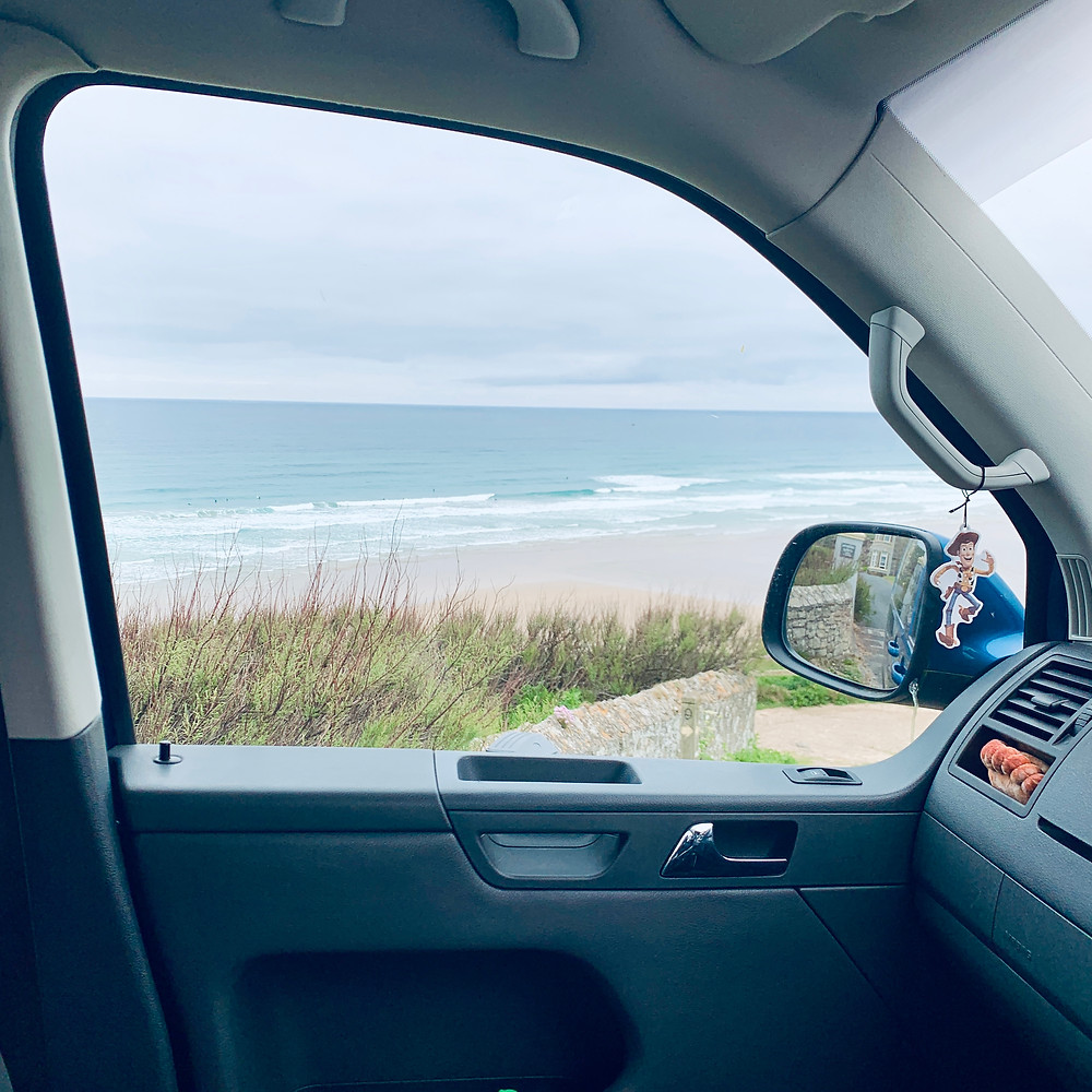 View of the beach from Ross's car window