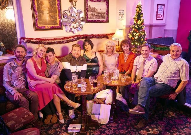 A recent photo of the Gavin & Stacey cast, taken during filming