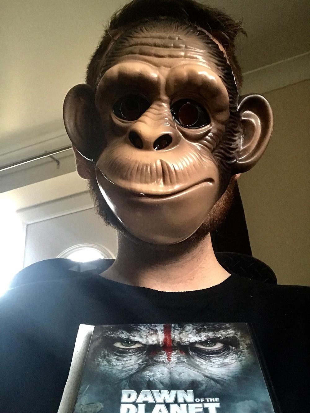 Ross wearing an Ape mask