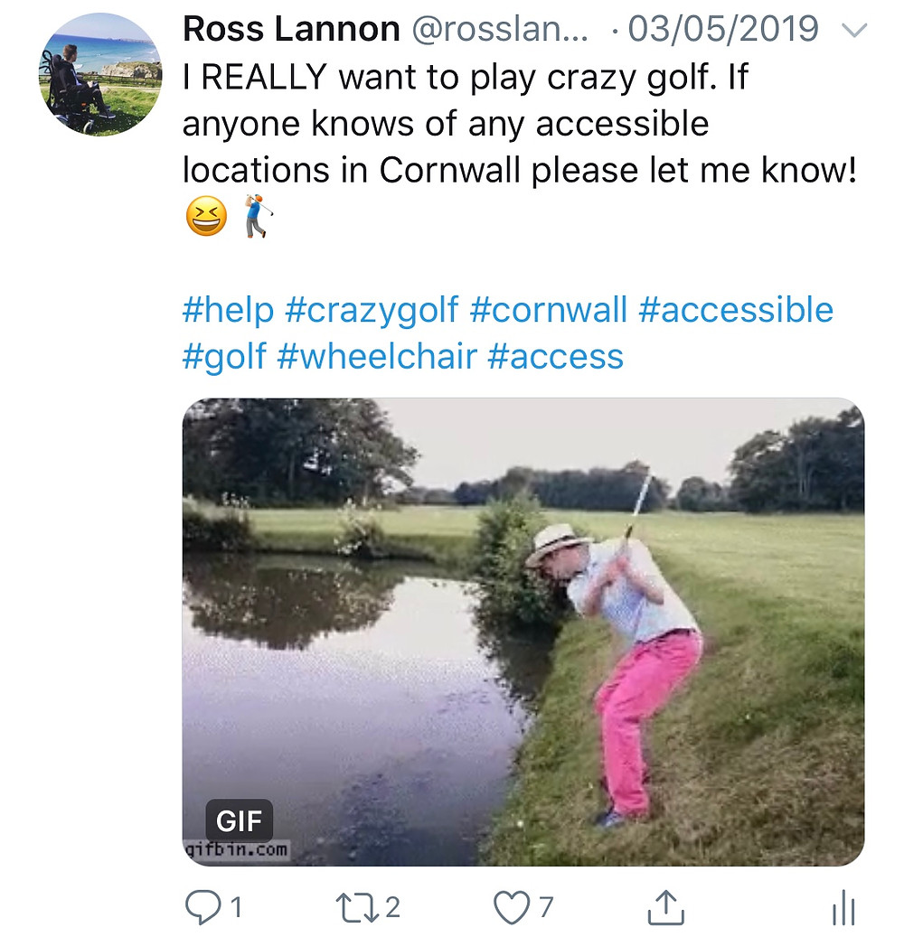 Screenshot of a tweet from Ross asking for any accessible golf locations in Cornwall