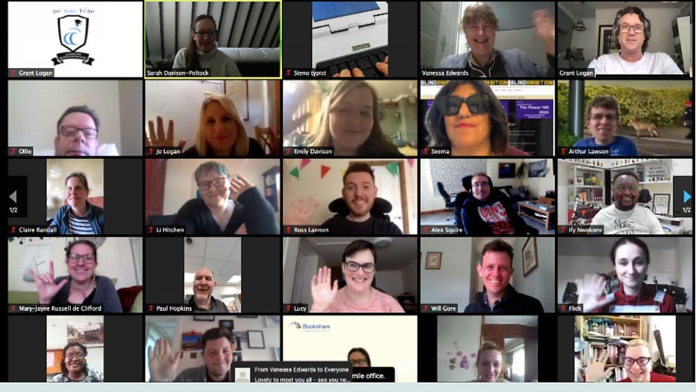 A Zoom screenshot of all the students doing the new Foundation Journalism course