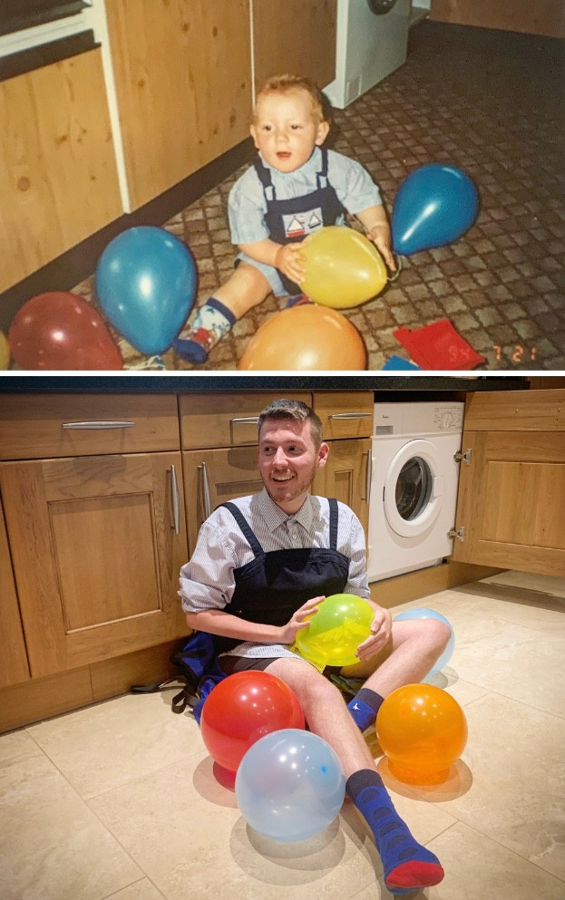 Side by side image of Ross as a child and Ross now. Sat on the floor, surrounded by different balloons.