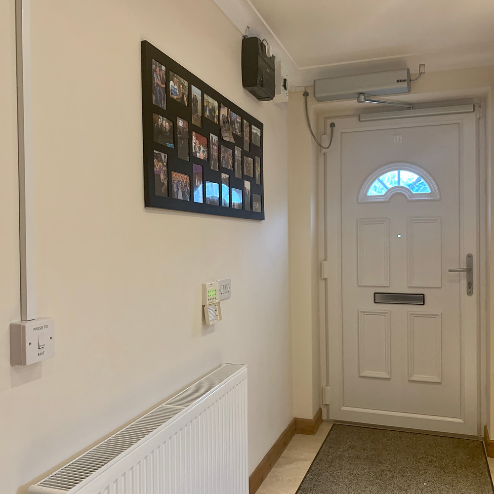 Ross's new electric front door with push button