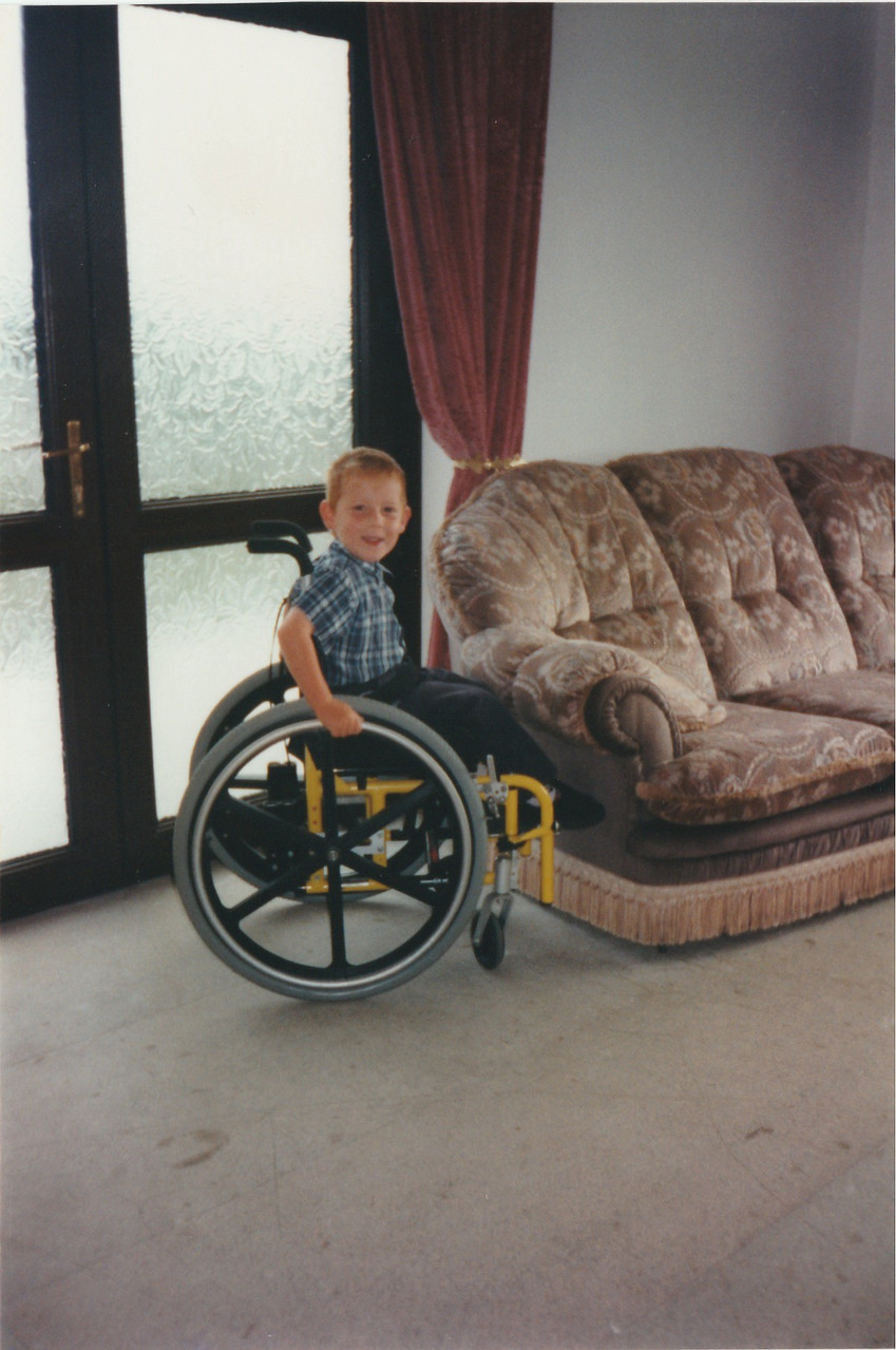 Wheelchair called _La La_ from the Teletubbies