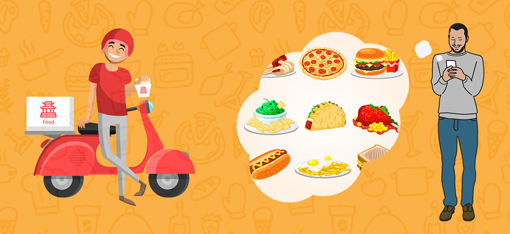 Clipart image of a man using his phone to order food, alongside an image of delivery driver and food thought bubble options