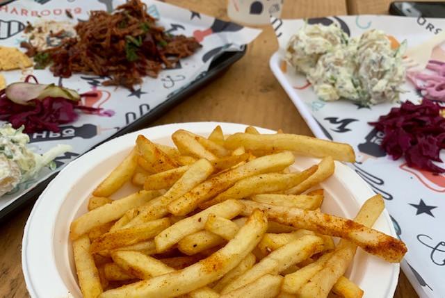 Close up shot of the bowl of cajun fries