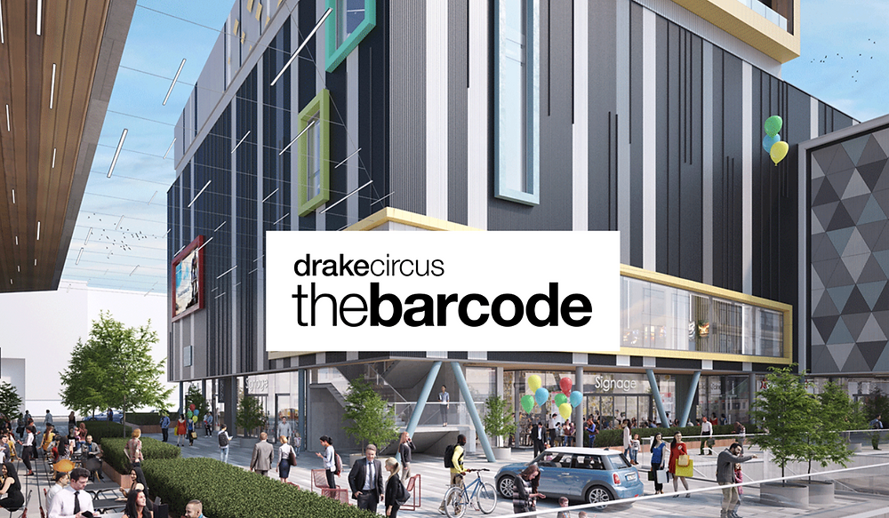 Outside image of the Barcode building - black and white stripe design