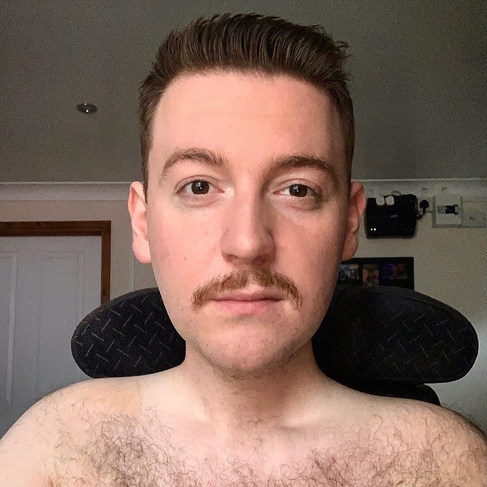 Ross and his awkward moustache at the start of Movember. Shirtless selfie